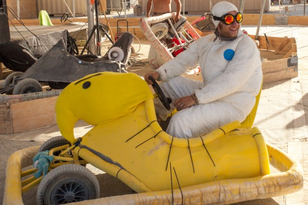 Pedal-powered bumper car shaped like a Marshmallow peep.