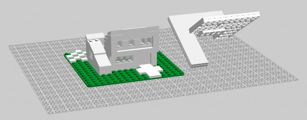 Shed-style house modeled in Lego Digital Designer