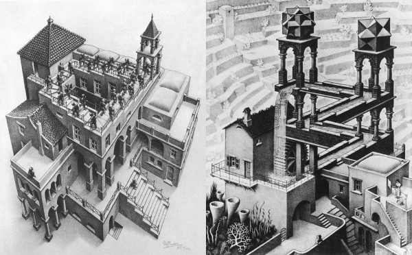 "Two famous ""Impossible"" illustrations by M.C. Escher"