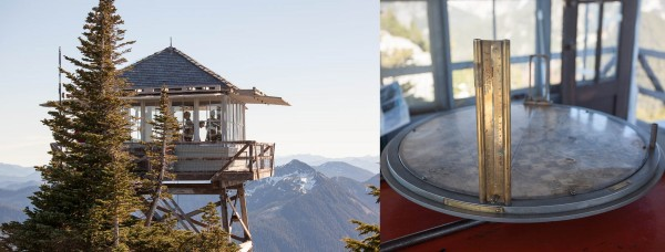 Photos from today's hike: Granite Mountain Lookout (left) and fire finding instrument (right)