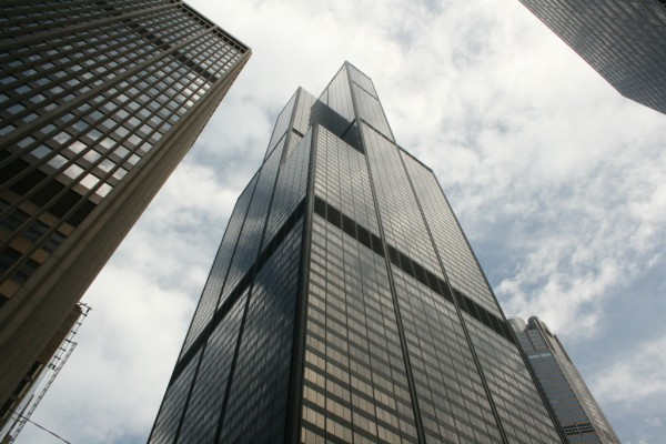 Image showing the predominately diagonal symmetry present in the Sears Tower.