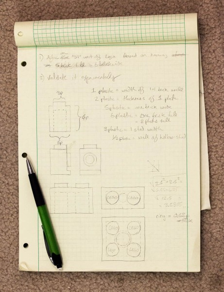 Notes, drawings and predictions on graph paper