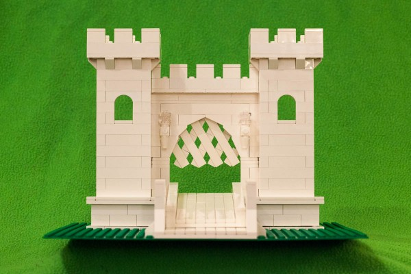 Front facade of my castle, complete with latticed grate and drawbridge.