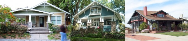 A variety of Craftsman style homes (from historichouseblog.com)