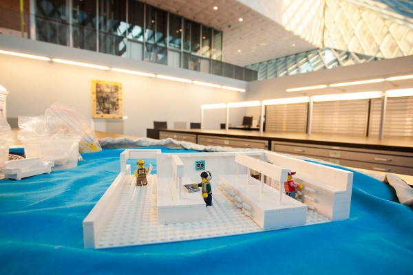 A Lego-scale library inside a full-sized library.