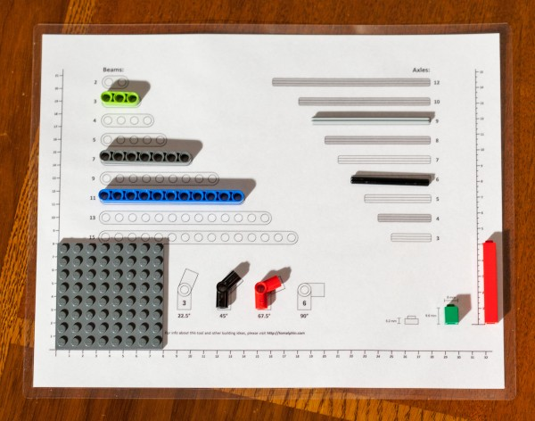 Lego sorting guide and ruler in use