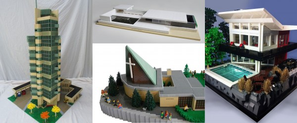 """Price Tower"" by Tim Inman; ""The Barcelona Pavilion"" by ChrKuehn; ""Roskilde Adventist Church"" by Lasse; ""1007 Mountain Drive"" by Dave Kaleta."