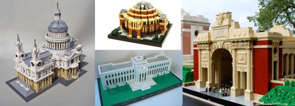 """St Paul's Cathedral"" by Mechalex; ""Royal Albert Hall"" by Pandora and Rufus; ""Eccles Building"" by Regolo59; ""Menin Gate"" by Jan Vanden Berghe."