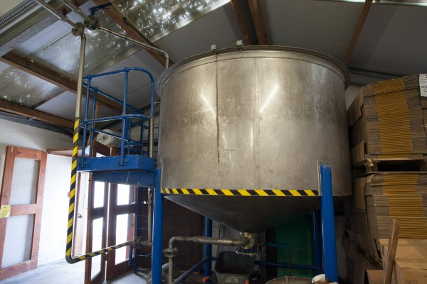 A large tank is used to soak the barley.  This one is at Kilchoman, and is much smaller than most distilleries would use.