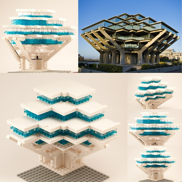 #LEGO #Architecture exploration of one corner of the #Geisel #Library at #UCSD #SanDiego.  This #Brutalist / #Futurist building was designed by Pereira & Associates; built in 1968.  It's one of my favorite #brutalism buildings, but I haven't visited it yet! (Photo by Antoine Taveneaux, Wikimedia Commons)  #LEGOArchitectureStudio. I would need a lot more bricks to build the whole thing!