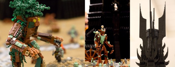 BrickCon 2011 included an immense tower of Orthanc from Lord of the Rings surrounded by brick-built Ents fighting against the Orcs. (Lowell, Gagne, Griffith)