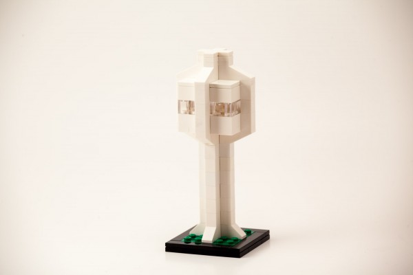 Brutalist style LEGO Architecture model of an Airport Traffic control tower.