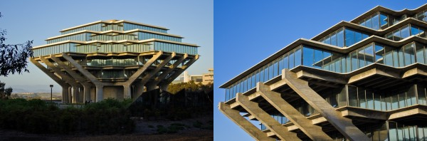 Geisel Library (1968) on the campus of University of California, San Diego. Photos by Antoine Taveneaux / Wikimedia.org