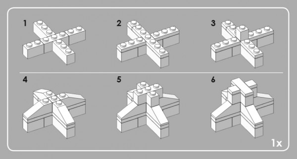 An excerpt of the instructions that show how to assemble the top of the tower.