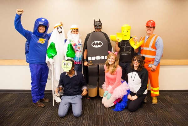 My whole team dressed up in LEGO Movie costumes.
