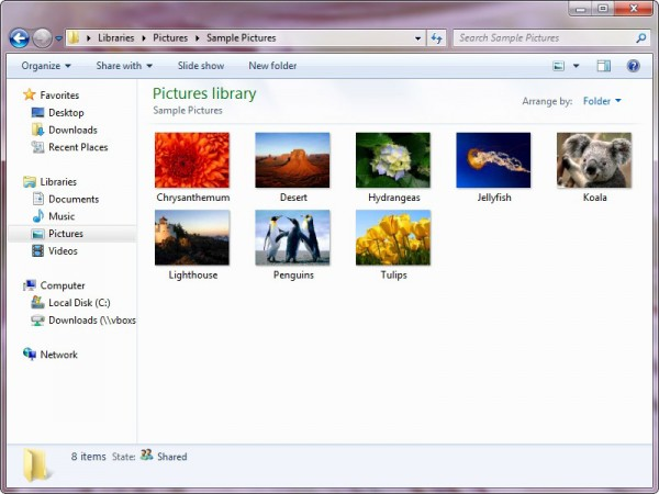 sample pictures in windows 7