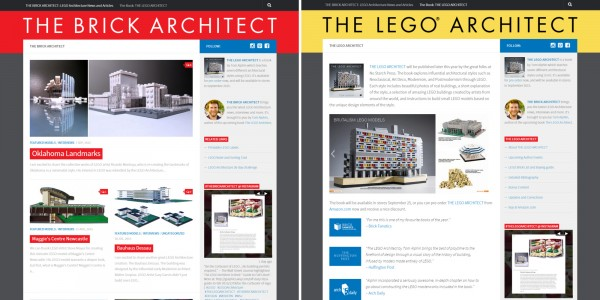 The Brick Architect - LEGO Architecture Blog (left) and The LEGO Architect Book Website (right)